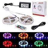 SPARKE LED Strip Light Non-Waterproof 10meter/32.8feet SMD5050 RGB 300LEDs Flexible Color Changing LED Rope Light Kit with RF Remote Controller and UL Listed 24V Power Supply