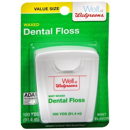Walgreens Waxed Dental Floss Mint 100.0 yd(Pack of 2)