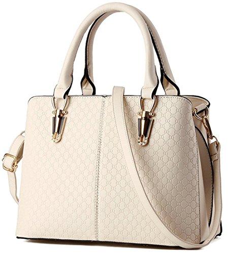 RS Casual Top Handle Handbag Purse Satchel Pu Leather Shoulder Bag Women T Beige