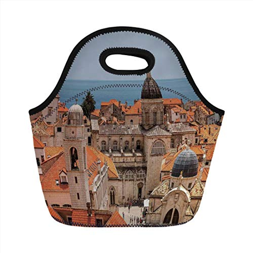 Lunch Bag Portable Bento,Cityscape,Aerial View on the Old City of Dubrovnik City Walls Medieval Croatia European Deco Decorative,Multi,for Kids Adult Thermal Insulated Tote Bags