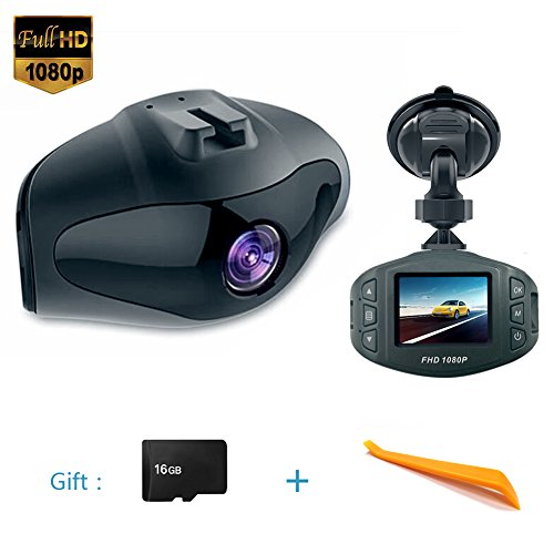 (Onlylife Mini Dash Camera FHD 1080P 6G Lens 170° View Angle Car DVR Recorder 1.5 Inch LCD Screen Vehicle Dash Cam with G-Sensor Loop Recording Motion Detection Park ing Monitor and G-Sensor16G microSD)