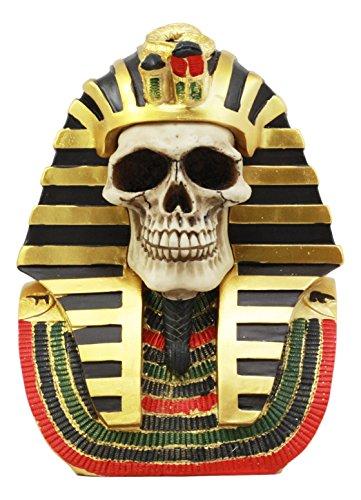 """Ebros Ancient Egyptian Pharaoh King Tut Skull Statue 7""""Tall Mask Of King Tutankhamen Skeleton Bust Figurine"""