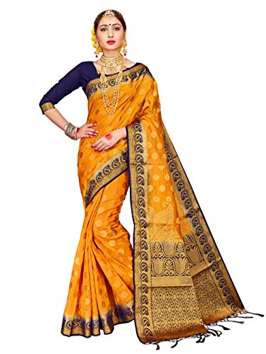 (ELINA FASHION Sarees for Women Banarasi Art Silk Woven Work Saree l Indian Wedding Ethnic Wear Sari & Blouse Piece (Yellow))