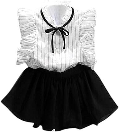 K-youth® Verano Chicas Rayas Camisa Gasa Culottes Dos Piezas ...
