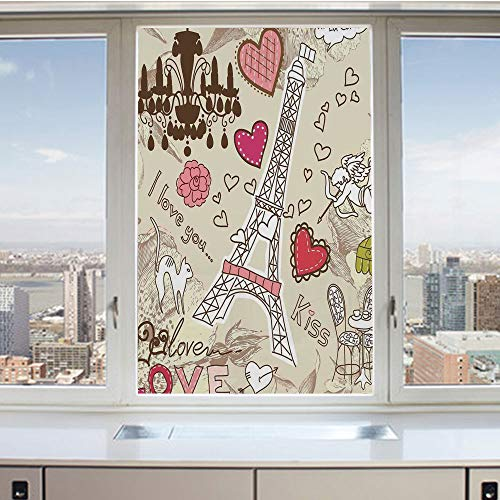 3D Decorative Privacy Window Films,Doodles Illustration of Eiffel Tower Hearts Chandelier Flower Love Themed Vintage Artwork,No-Glue Self Static Cling Glass film for Home Bedroom Bathroom Kitchen Offi