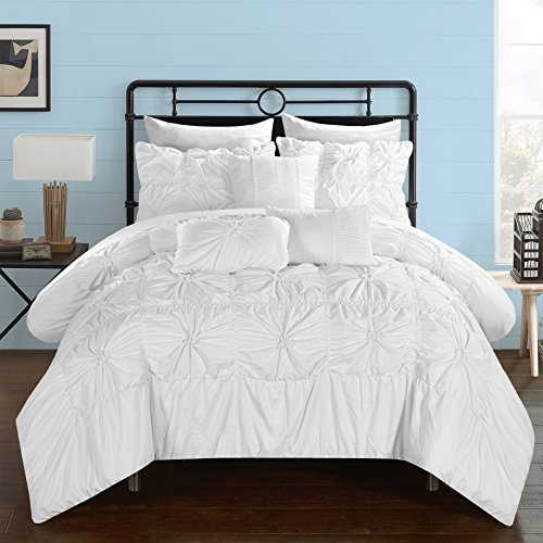 Chic Home 8 Piece Springfield Floral Pinch Pleat Ruffled Designer Embellished Twin Bed in a Bag Comforter White with Sheet Set