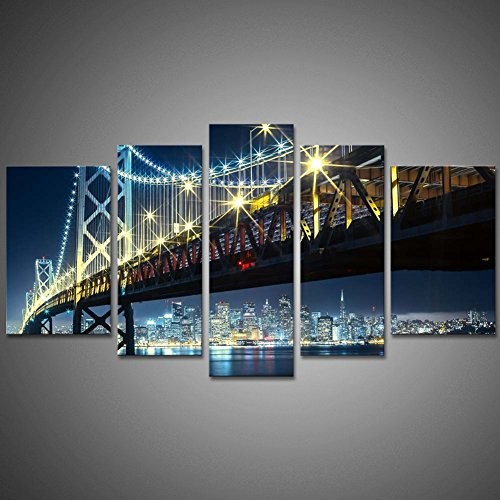 Modern Oil Painting Wall Art The Picture Home Decoration Oakland Bay Huge Bridge With San Francisco In Colorful Light Background Night Landscape Digital Print On Canvas Giclee Artwork by uLinked Art