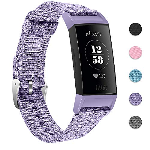 Joyozy Nylon Woven Bands Compatible with Fitbit Charge 3 and Charge 3 SE Replacement Accessory Straps Wristbands Bracelet Women and Men 5 Colors Avaiable