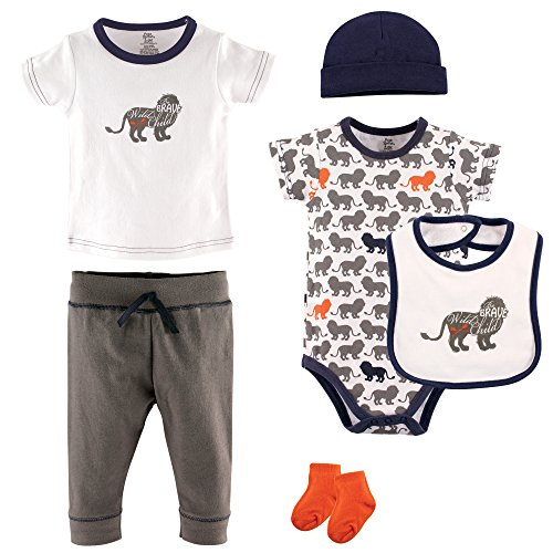 Yoga Sprout Baby 6 Piece Layette Set, Lion Collection, 6-9 Months (9M)