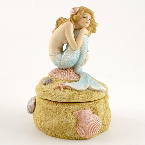Mermaid Daydreaming Atop Small Trinket Box Colored Figurine