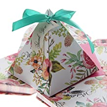 Floral Triangle Candy Gift Boxes with Ribbons Wedding Party Favour Pack of 50
