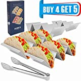 Taco Holder Stands, Set of 4 - Stainless Steel Taco Tray with Built-in Handle, Bonus Stainless Steel Clip -- 4'' x 8'' Safe for Oven, Dishwasher,Gift-ready Package for Party and Home Enjoying Time