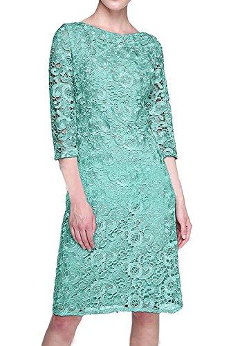 Charmant Abendkleider Festlichkleider Silber Gruen Knielang Brautmutterkleider Minze Langarm Formalkleider Damen mit FfqC1