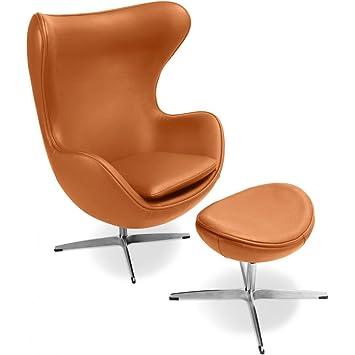 AuBergewohnlich Egg Chair Mit Hocker Arne Jacobsen Style   Hochwertiges Leder