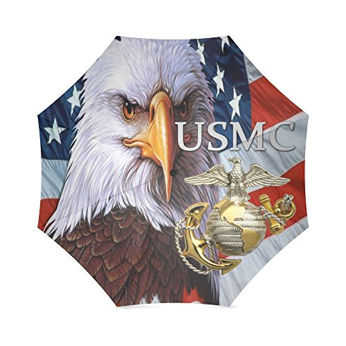 Christmas/Thanksgiving Gifts USMC Bold American Flag Marines Semper Fi Foldable Sun/Rain Umbrella Sunshade Parasol