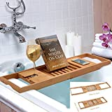 Bamboo Bathtub Rack Shelf Caddy Tray Wine Holder Book Stand Expandable