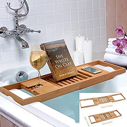 Superbe Bamboo Bathtub Rack Shelf Caddy Tray Wine Holder Book Stand Expandable
