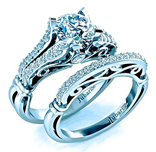 (Round Foliage Diamond Engagement Ring & Matching Bridal Wedding Band Sets 1.52Ctw Custom Scrolls Bezel Split Shank 14K White Gold Designer Fine Jewelry )