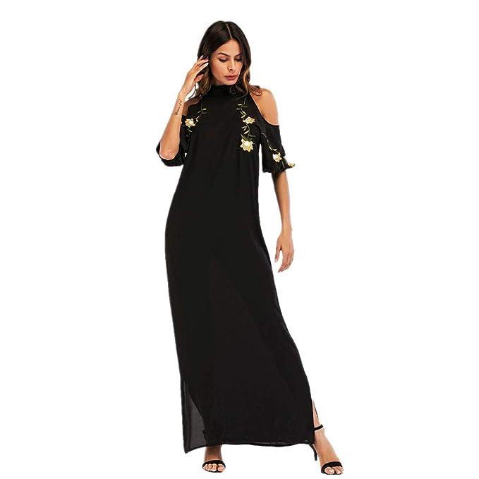 Cvbndfe Cómodo Sexy cáñamo de Las Mujeres Bordado Hombro Raja Vestido Falda Larga Musulmana árabe Moda Ropa Mujer Elegante (tamaño : XL): Amazon.es: Hogar