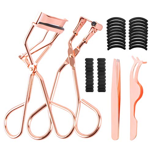 Eyelash Makeup Tools Set - Include 4 Pieces Eyelash Curler & Mini Eyelash Curler & False Eyelashes Extension Tweezers and 40 Pieces Black Silicone Refill Pads with Clear OPP - Rose Gold