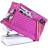 Sewing Machine Cover with 3 Convenient Pockets - Protective Quilted Dust Cover Pro - Universal for Most Standard Singer & Brother Machines | Rodi's (Pink)
