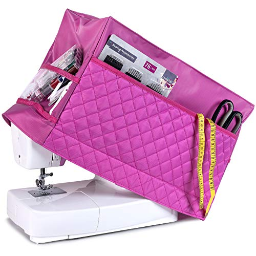 (Sewing Machine Cover with 3 Convenient Pockets - Protective Quilted Dust Cover Pro - Universal for Most Standard Singer & Brother Machines   Rodi's (Pink))