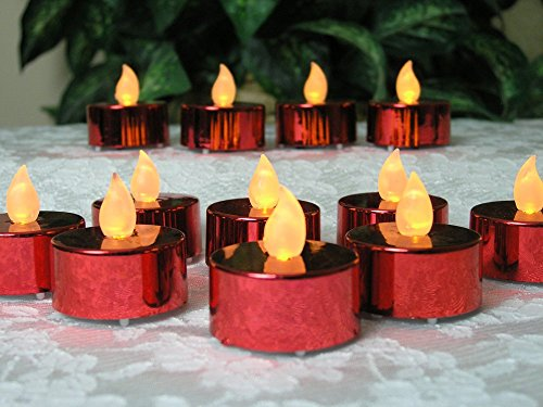 Red Candles - Set of 24 Flame Free Banberry Designs Candles - Wedding Decorations - Centerpieces - Holiday Decorations by Banberry Designs