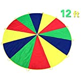 Everfunny Play Parachute, Children 210T Rainbow Play Parachute 12 feet with 12 Handles for 3-8 Kids Play Games