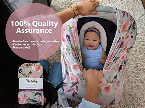 Premium Soft, Stretchy, and Spacious 4 in 1 Multi-Use Cover for Nursing, Baby Car Seat, Stroller, Scarf, and Shopping Cart - Best Gifts by Pobibaby (Grace) by Pobibaby (Image #3)