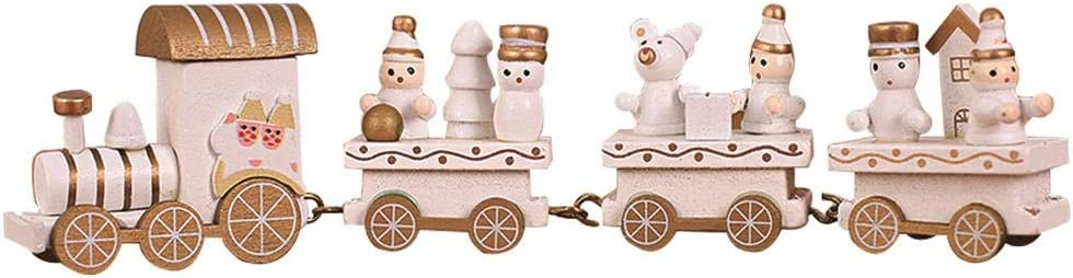 NEILDEN Upgraded Version Christmas Train Decor Gift Cute Wooden Mini Train Kids Gift Toys for Christmas Party Kindergarten Decoration (White)