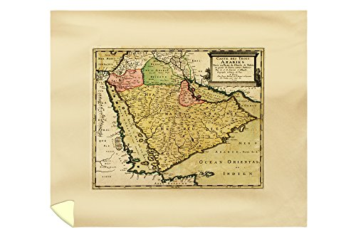 Arabian Peninsula of the Middle East - Panoramic Map (88x104 King Microfiber Duvet Cover) by Lantern Press