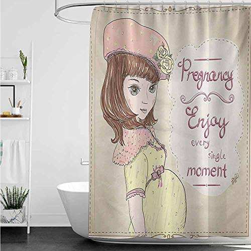 - home1love Hotel Style Shower Curtain,Quotes Pregnancy Enjoy Every Single Moment Clipart Pregnant Woman Dress Hat,Bathroom Decoration,W48x72L,Eggshell Pink Multicolor