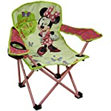 Disney Metal Camping Chairs Kids Green & Pink Minnie Mouse Bowtique Folding Camp Chair 21.5 X 21.75 X 13 Inches Green