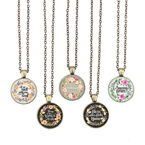 (BUENAVO Bible Verse Pendant Necklace Christian Songs and Hymns Glass Cabochon Pendant Inspired Necklace with 24 inches Chain Handmade for Gifts 5pcs (Bible 4, Hymns) )