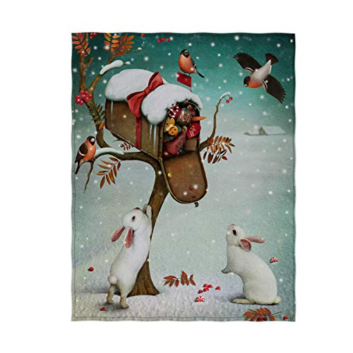 OPPAH Rabbits with Birds Theme Christmas Blanket Warm & Soft Lightweight Blanket Throw Size for Kids Adults (60