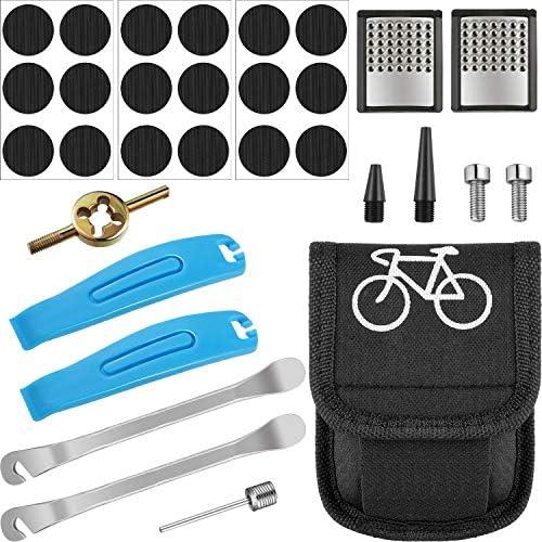 Mudder 自転車修理キット タイヤパンク修理ツール 自転車タイヤパッチレバー ラスプツール バッグ付き 空気注入式インナーチューブ用