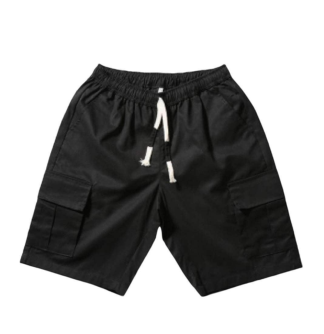 Etecredpow Mens Drawstring Multi Pocket Mid Waist Straight Classic-fit Cargo Short Pants