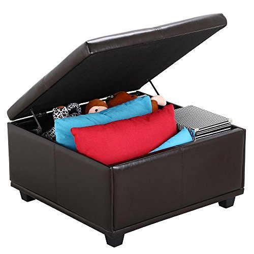 Topeakmart Large Faux Leather Ottoman Storage Coffee Table Lift Up Top Bench Solid Wood Legs
