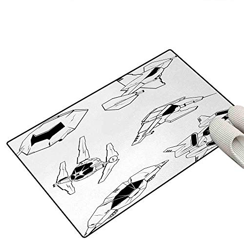 Kuytresdf Galaxy Door Mat Outside Battle Spaceships Future Space Armed Forces Fantastic Galaxy Wars Themed Pattern Bath Mats for Floors 16 24 inch; Black White