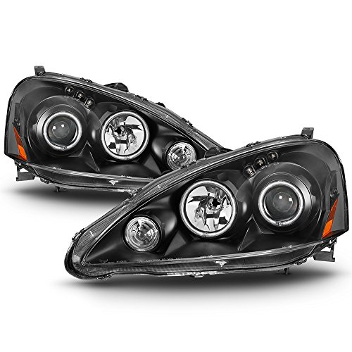 ACANII - For 2005-2006 Acura RSX DC5 LED Dual Halo Projector Headlights Headlamps Driver + Passenger ()