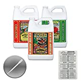 Fox Farm Liquid Nutrient Trio Soil Formula: Big Bloom, Grow Big, Tiger Bloom (Pack of 3 - 1 Gallon Bottles) + Twin Canaries Chart & Pipette