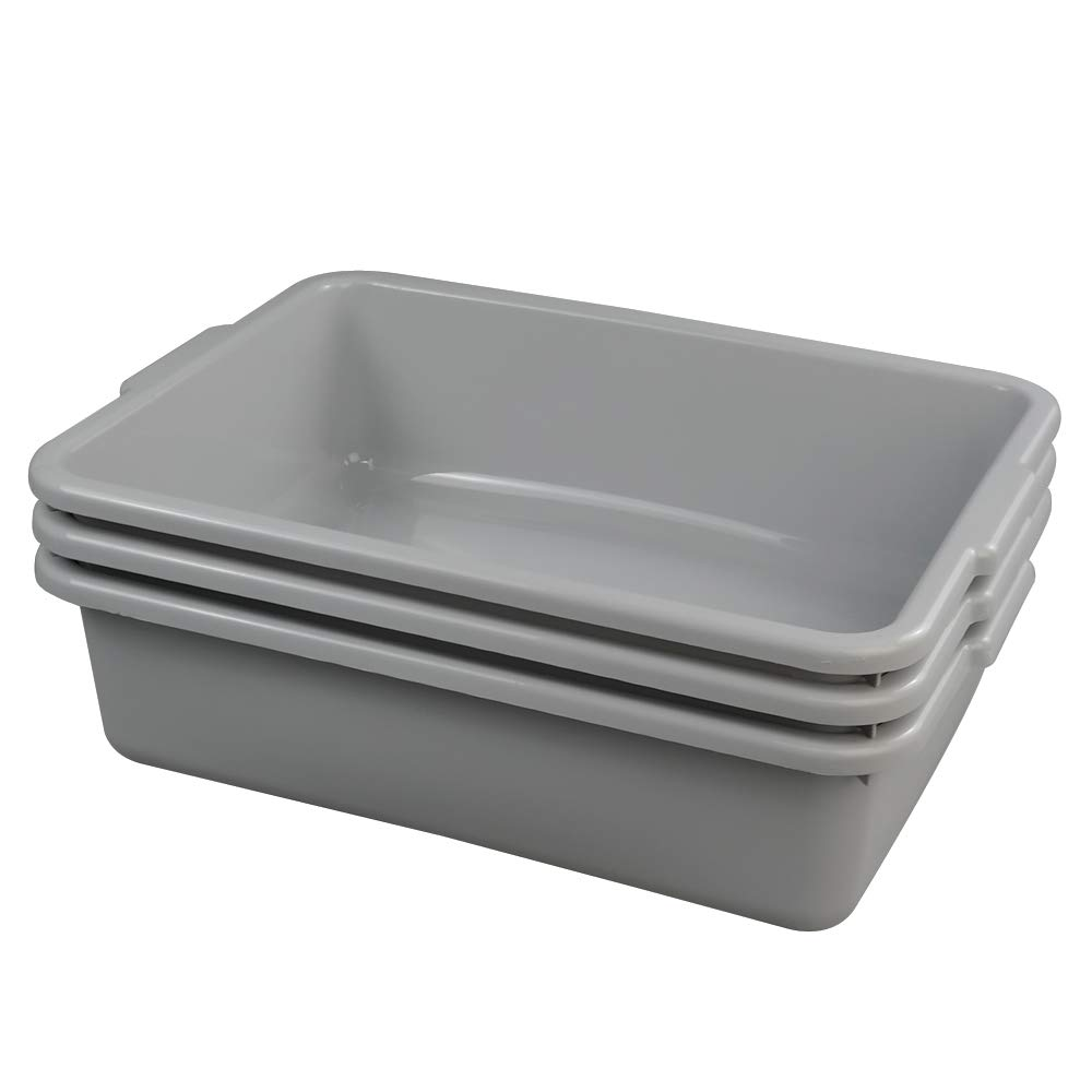 Ggbin Plastic Dish Tubs, Commercial Bus Box/Wash Basin Tote Box, 3-Pack(Grey, 13L)