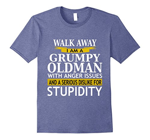 Mens Walk Away Grumpy Old Man With Anger Issues Sarcasm T Shirt Large Heather Blue