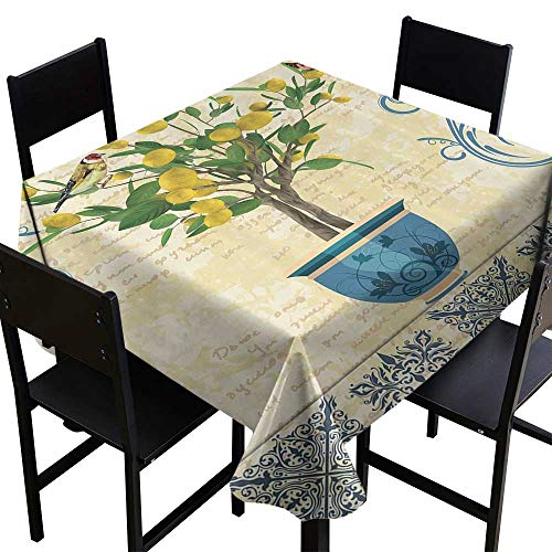 Table Cloth for Outdoor Lemons Decor,Lemon Tree Birds Traditional Tiles Paisley Monarch Butterfly Bird Vintage Style Floral Flowerpot Ceramic Vase,Ivory Yellow Green Blue Navy,W36