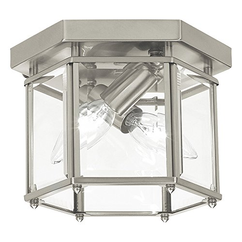 (Sea Gull Lighting 7647-962 Bretton Two-Light Flush Mount Ceiling Light With Clear Beveled Glass Panels, Brushed Nickel Finish)