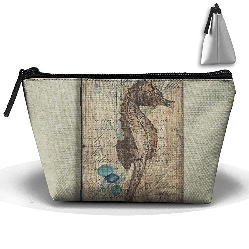 Price comparison product image RobotDayUpUP Rustic Seahorse Wall Decor Womens Travel Cosmetic Bag Portable Toiletry Brush Storage Durable Pen Pencil Bags Accessories Sewing Kit Pouch Makeup Carry Case