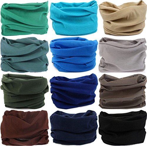 Neckband Head (Headwear Head Wrap Sport Headband Sweatband 220 Patterns Magic Scarf 12PCS & 6PCS 12 in 1 By VANCROWN (12PCS.Solid Color 4))
