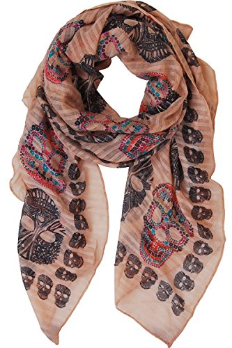 Humble Chic Sugar Skull Scarf - Long Oversized Lightweight Printed Shawl Wrap, Tan, Beige -