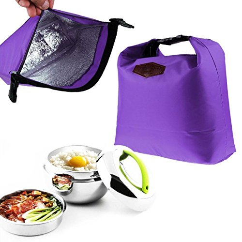 Lunch bags On sale!! Portable Waterproof Thermal Cooler Insulated Lunch Box Tote Storage Picnic Bags for Women Ladies Girls Children Kids Student (Purple)