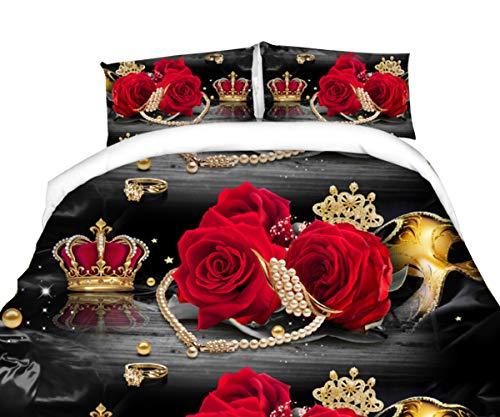 Chengmei 3D Crown Floral Duvet Cover Bedding Set Comforter Shell Bedclothes Queen Size 4Pcs